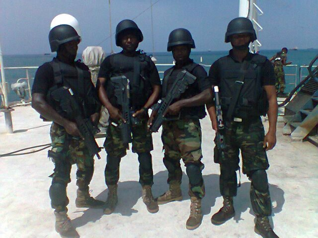 Nigerian Navy SBS commandos on the deck of a naval warship
