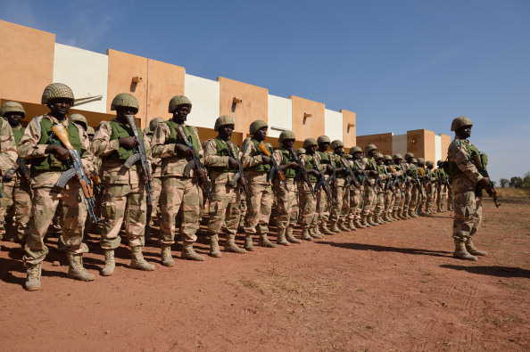 Nigerian troops seen here lined up at Bamako Airport