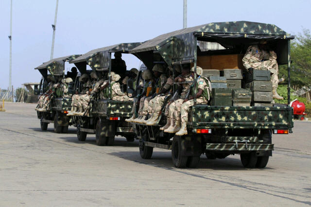 Mali-bound gun-trucks of the Nigerian Army, reconfigured in Nigeria