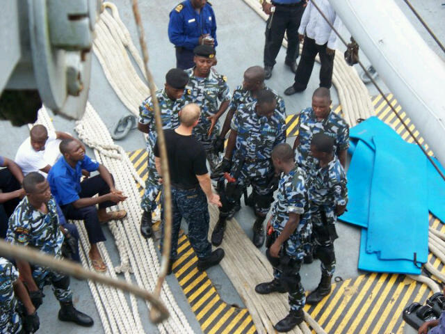 Nigerian Navy SBS commandos and a U.S Navy SEAL onboard a 1,041 ton logistics ship/patrol vessel