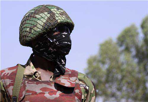 A Nigerian Army Special Forces soldier at Jaji prior to his departure for Mali