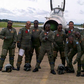 A NAF F7 AirGuard Jet Pilots And Foreign Counterparts At Airbase