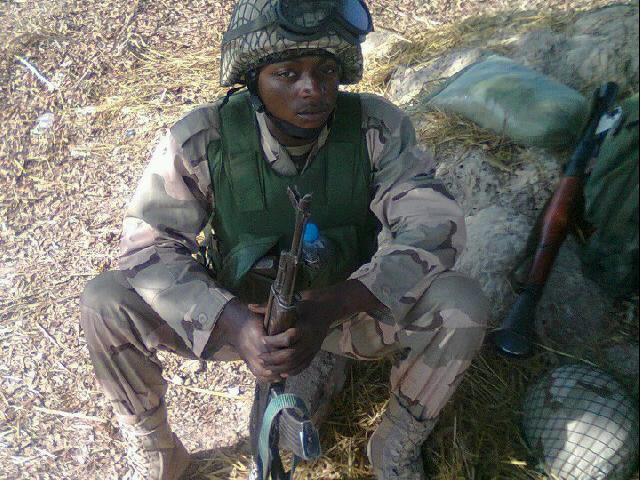 A Nigerian soldier at his duty post in Mali