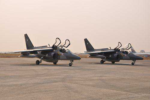 Upgraded Alpha Jet aircraft - NAF 452 and NAF 455..set to depart for AFISMA operations