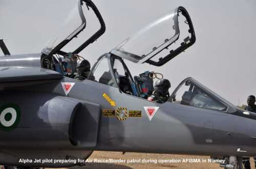A NAF Alpha Jet prepares for AFISMA air recce/border patrol in Niamey, Niger