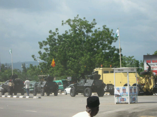 An Otokar Cobra APC leads Panhard VBL scout cars of the Nigerian Army