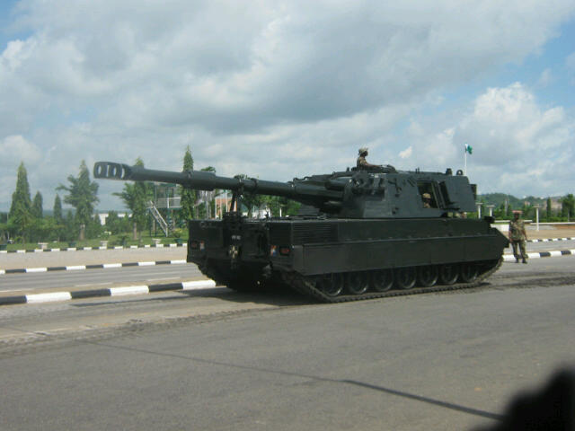 Palmaria 155mm SP artillery of the Nigerian Army
