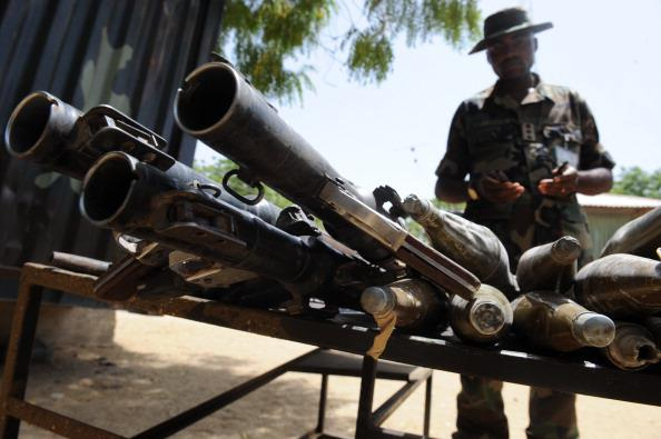 Weaponry lost to troops by the terrorists