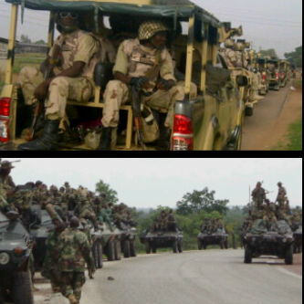Troops in desert warfare-adapted 4WD vans,Panhard VBL scout cars and Otokar Cobra APC spotted at 0900hrs, 15 May 2013