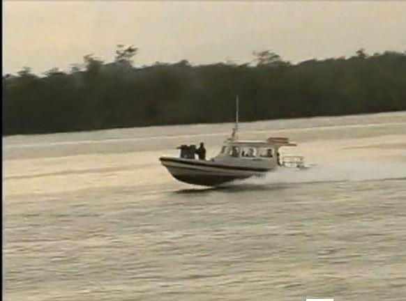 A Modant Marine patrol boat of the Nigerian Arny in the Niger Delta