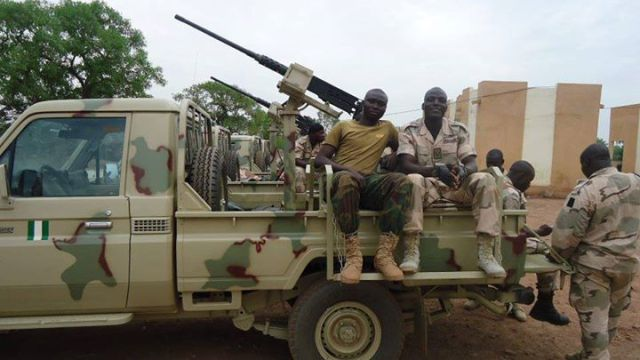 Browning M2 12.7mm HMG-armed Landcruiser gun-trucks of the Nigerian Army in Mali