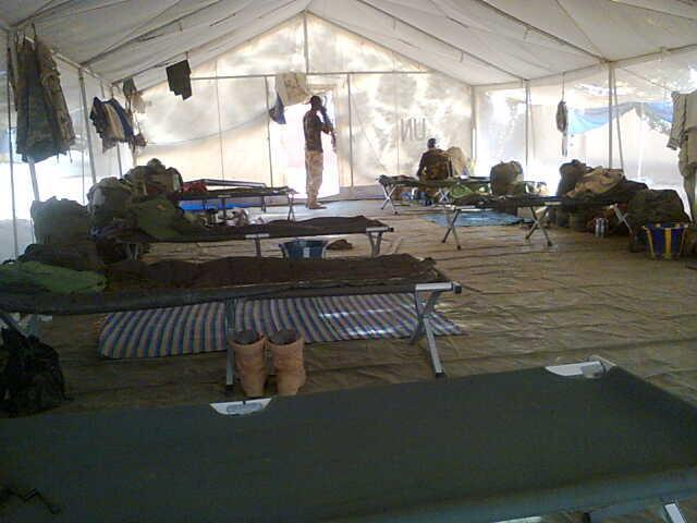 A view from inside the tent dwelling of Nigerian AFISMA troops in the mission area