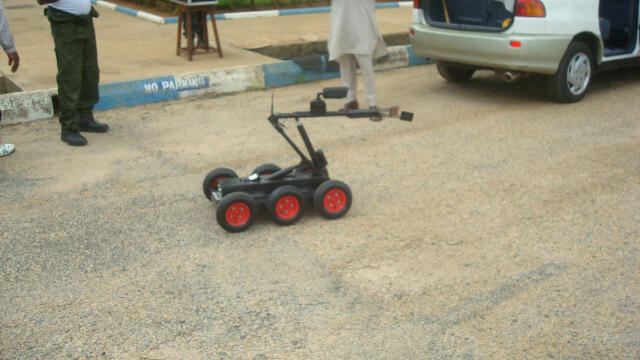 A bomb detonating robot produced by the Nigerian Air Force Institute of Technology