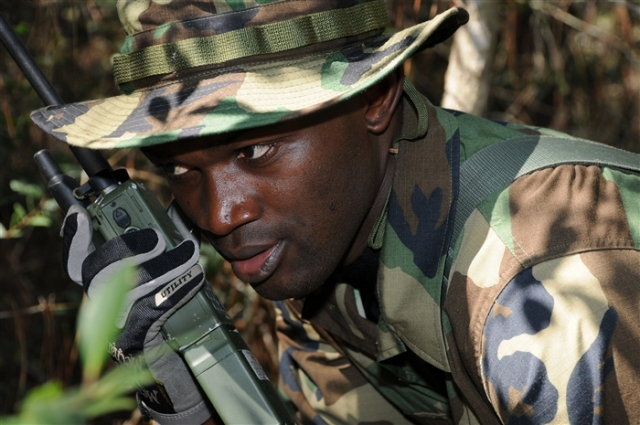 A student from Nigeria takes part in a communications exercise at U.S NAVSCIATTS, Miss.