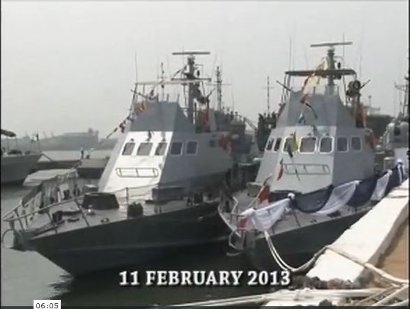 Some Shaldag Mk.II Fast Patrol Craft of the Nigerian Navy, commissioned into service in Feb 2013