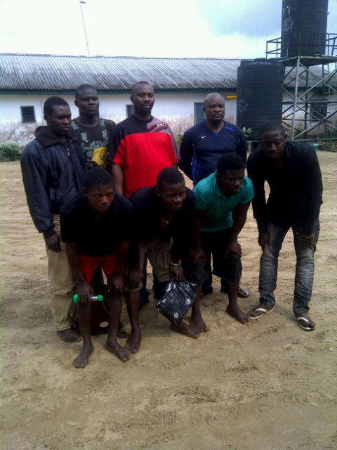 Some of the suspected oil thieves who were arrested during the raids