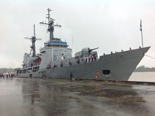 Nigerian Navy Ship, NNS Thunder F90 berths in Luanda, Angola enroute Australia