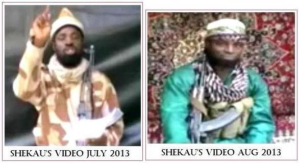 Dead or alive: the 'Shekau' pictured to the right in an August 2013 video appears to be an impostor