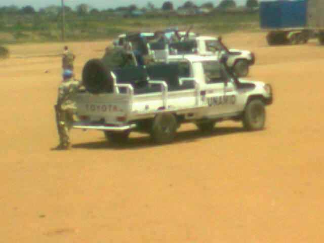 Nigerian Toyota Landcruiser trucks on UNAMID duty in Darfur, Sudan