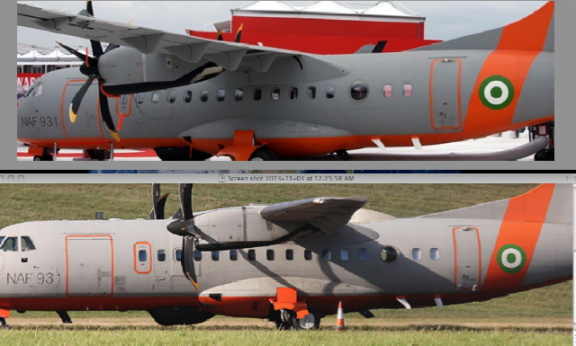 A more full-featured NAF Alenia Surveyor plane, before and after upgradation
