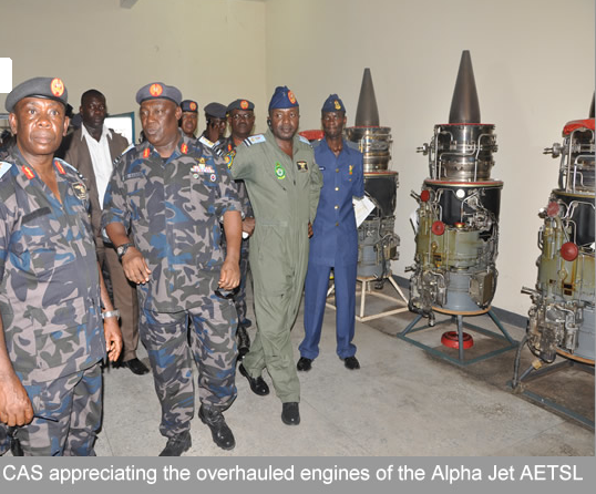 Chief of the Air Staff, Air Marshal Alex Badeh(2nd left)inspects Alpha Jet engines at the AETSL